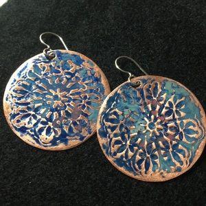 Handmade Boho copper disc earrings